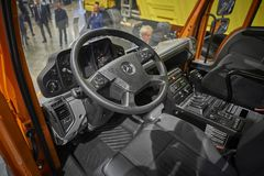 MOSCOW, SEP, 5, 2017: View on new service truck Mercedes-Benz Unimog cabin interior. Commercial Transport Exhibition ComTrans-201 royalty free stock photos