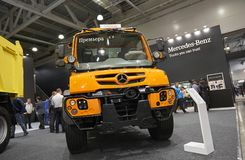 MOSCOW, SEP, 5, 2017: View on new service truck Mercedes-Benz Unimog for various service modifications City service trucks Commerc. Ial Transport Exhibition Royalty Free Stock Image