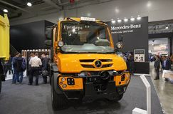 MOSCOW, SEP, 5, 2017: View on new service truck Mercedes-Benz Unimog for various service modifications City service trucks Commerc. Ial Transport Exhibition Stock Photos