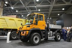 MOSCOW, SEP, 5, 2017: View on new service truck Mercedes-Benz Unimog for various service modifications City service trucks Commerc. Ial Transport Exhibition Royalty Free Stock Photography