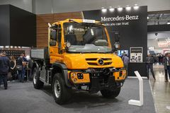 MOSCOW, SEP, 5, 2017: View on new service truck Mercedes-Benz Unimog for various service modifications City service trucks Commerc. Ial Transport Exhibition Stock Photo