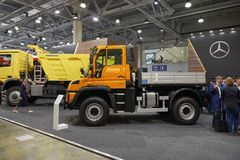 MOSCOW, SEP, 5, 2017: View on new service truck Mercedes-Benz Unimog for various service modifications City service trucks Commerc. Ial Transport Exhibition Stock Photography