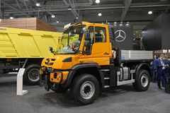 MOSCOW, SEP, 5, 2017: View on new service truck Mercedes-Benz Unimog for various service modifications City service trucks Commerc. Ial Transport Exhibition Stock Images
