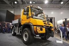 MOSCOW, SEP, 5, 2017: View on new service truck Mercedes-Benz Unimog for various service modifications City service trucks Commerc. Ial Transport Exhibition Royalty Free Stock Photo
