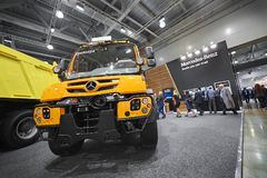 MOSCOW, SEP, 5, 2017: View on new service truck Mercedes-Benz Unimog for various service modifications City service trucks Commerc. Ial Transport Exhibition Royalty Free Stock Photos