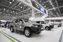 MOSCOW, SEP, 5, 2017: View on new Volkswagen customized off road cars, service commercial cars exhibits on Commercial Transport Ex. Hibition ComTrans-2017 Stock Photography