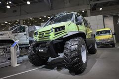 MOSCOW, SEP, 5, 2017: View on off-road GAZ special passenger car for hard to reach swamp Siberia Russia areas. Mud Truck for worke. Rs vehicle GAZ chassis Stock Photo