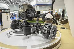 MOSCOW, SEP, 5, 2017: View on Rostar pivoted drive axle with pneumatic suspension for truck chassis Truck transmission drive axle stock image