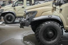 MOSCOW, SEP, 5, 2017: View on russian off road car GAZ for for hard to reach areas and hunting. Special customized tailor made off. Road truck. Commercial Royalty Free Stock Photos