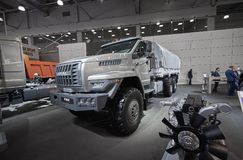MOSCOW, SEP, 5, 2017: View on serial off-road URAL mud truck for hard to reach areas. Off road cargo trucks for civil military tra. Nsportation. Commercial Stock Images