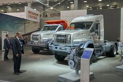 MOSCOW, SEP, 5, 2017: View on serial off-road URAL mud truck for hard to reach areas. Off road cargo trucks for civil military tra. Nsportation. People on Royalty Free Stock Photos