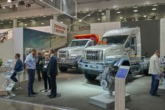 MOSCOW, SEP, 5, 2017: View on serial off-road URAL mud truck for hard to reach areas. Off road cargo trucks for civil military tra. Nsportation. People on Stock Photo