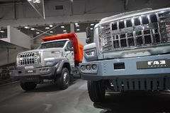 MOSCOW, SEP, 5, 2017: View on serial off-road URAL mud truck for hard to reach areas. Off road trucks for civil and military cargo. Transportation. Commercial Royalty Free Stock Photos
