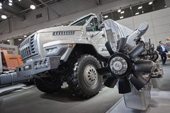 MOSCOW, SEP, 5, 2017: View on serial off-road URAL mud truck for hard to reach areas. Russian most powerful off road trucks for tr. Ansportation. Commercial Stock Photo