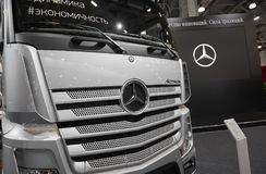 MOSCOW, SEP, 5, 2017: View on silver trucks Mercedes-Benz Actros exhibits on Commercial Transport Exhibition ComTrans-2017 Commerc. Ial Mercedes trucks Royalty Free Stock Images