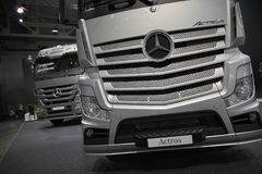 MOSCOW, SEP, 5, 2017: View on silver trucks Mercedes-Benz Actros exhibits on Commercial Transport Exhibition ComTrans-2017. Commer. Cial Mercedes trucks Stock Photo