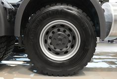 MOSCOW, SEP, 5, 2017: View on Volvo truck rear axle wheels and tires. Truck wheel rim. Truck chassis exhibit on Commercial Transpo. Rt Exhibition ComTrans-2017 royalty free stock photo