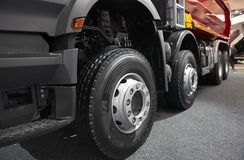 MOSCOW, SEP, 5, 2017: View on Volvo truck wheels and tires. Truck wheel rim. Truck chassis exhibit on Commercial Transport Exhibit. Ion ComTrans-2017. Commercial Stock Photos