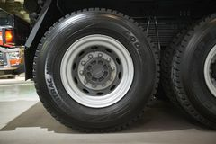 MOSCOW, SEP, 5, 2017: View on Volvo truck wheels and tires. Truck wheel rim. Truck chassis exhibit on Commercial Transport Exhibit. Ion ComTrans-2017. Commercial royalty free stock image
