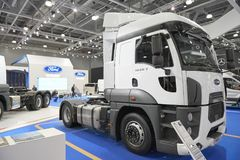 MOSCOW, SEP, 5, 2017: View on white truck Ford exhibits on Commercial Transport Exhibition ComTrans-2017. Commercial transport veh. Icles. New commercial trucks royalty free stock photography