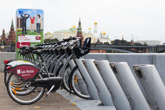 MOSCOW SEPTEMBER 22: Bycicles rental service on 15 July 2015 in Moscow Royalty Free Stock Images
