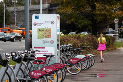 MOSCOW SEPTEMBER 22: Bycycles rental service on 22 September 2015 in Moscow Royalty Free Stock Image