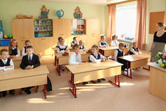 Dima, Anya, Nastya, eight years old in classroom at School Royalty Free Stock Photos