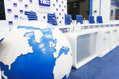 MOSCOW - September, 2016: empty and prepared for the event TV studio TASS Stock Photography