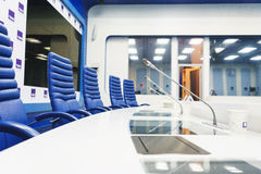 MOSCOW - September, 2016: empty and prepared for the event TV studio TASS Stock Images