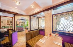 MOSCOW - SEPTEMBER 2014: The interior of the oriental restaurant Stock Photography