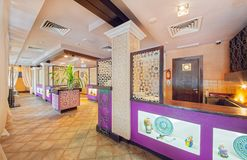 MOSCOW - SEPTEMBER 2014: The interior of the oriental restaurant Stock Image