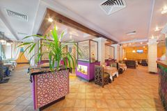 MOSCOW - SEPTEMBER 2014: The interior of the oriental restaurant Stock Images