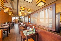 MOSCOW - SEPTEMBER 2014: The interior of the popular Japanese sushi restaurant Royalty Free Stock Photo