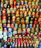 MOSCOW -September 19, 2017: Very large selection of matryoshkas stock photography