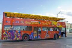 Moscow sikt-att se för stad bussar Arkivbilder