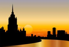 Moscow silhouette skyline sunset vector. Moscow city silhouette skyline sunset vector vector illustration