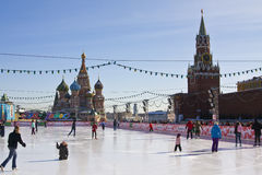 Moscow, skating ring on Red square Royalty Free Stock Photo