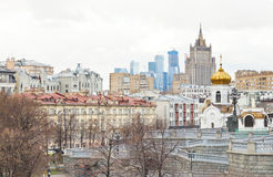 Moscow skyline with cathedral and skyscraper Stock Photos