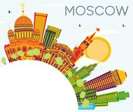 Moscow Skyline with Color Buildings, Blue Sky and Copy Space. Vector Illustration. Business Travel and Tourism Concept with Historic Architecture. Image for Vector Illustration