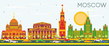 Moscow Skyline with Color Buildings and Blue Sky. Vector Illustration. Business Travel and Tourism Concept with Historic Architecture. Image for Presentation Royalty Free Illustration