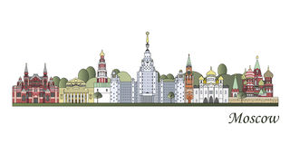 Moscow skyline colored Royalty Free Stock Photography