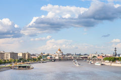 Moscow skyline with Crimean bridge and Catherdral Royalty Free Stock Photography