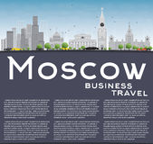 Moscow Skyline with Gray Landmarks, Blue Sky and Copy Space. Royalty Free Stock Photo