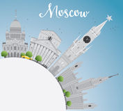 Moscow Skyline with Gray Landmarks, Blue Sky and Copy Space. Stock Photo