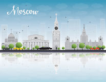Moscow skyline with grey landmarks and blue sky Stock Image