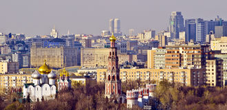 Moscow skyline, Russia. Russia: Moscow skyline, still dominated by Stalinist architecture. In the foreground Novodevichy Convent, famous monastery in Moscow Stock Photos