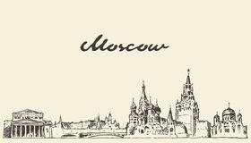 Moscow skyline Russia vector hand drawn sketch. Moscow skyline Russia vintage vector engraved illustration hand drawn sketch royalty free illustration