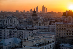Moscow skyline at the sunset. Russia Royalty Free Stock Image
