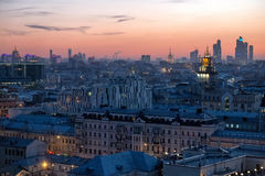 Moscow skyline at the sunset. Russia Royalty Free Stock Photography