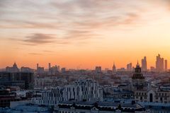 Moscow skyline at the sunset. Russia Royalty Free Stock Photos